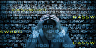 Security concept. Conceptual image of troubled man against media screen with binary code Stock Photography