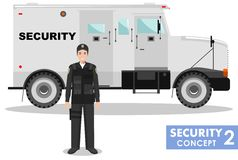 Security concept. Detailed illustration of armored car and security guard on white background in flat style. Vector Stock Image