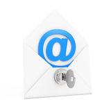 Security Concept. E-mail Sign in Envelope with Key and Keylock. Royalty Free Stock Photos