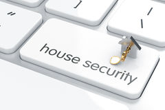 Security concept. Enter button with home and key on computer keyboard background. Security concept Stock Photo