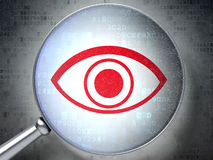 Security concept: Eye with optical glass on Royalty Free Stock Photos