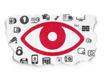 Security concept: Eye on Torn Paper background Stock Photography