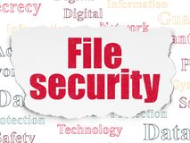 Security concept: File Security on Torn Paper background. Security concept: Painted red text File Security on Torn Paper background with  Tag Cloud Stock Photos
