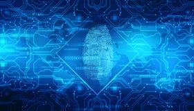 Fingerprint Scanning on digital screen, Security background. Security concept: fingerprint Scanning on digital circuit background, Internet Security Background stock illustration