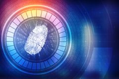 Fingerprint Security Background in technology background. Security concept: fingerprint Scanning on digital screen. cyber security Concept. 3d render Royalty Free Stock Image