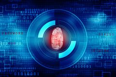 Cyber Security Concept, Concept of Internet Security, Fingerprint on digital background. Security concept: fingerprint Scanning on digital screen. 3d render Stock Photo