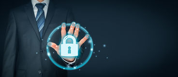 Security concept with fingerprint touch identification and authentication. Information technology devices security concept with fingerprint biometrics touch royalty free stock photography