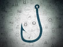 Security concept: Fishing Hook on Digital Data Paper background. Security concept: Painted blue Fishing Hook icon on Digital Data Paper background with Scheme Of Royalty Free Stock Images