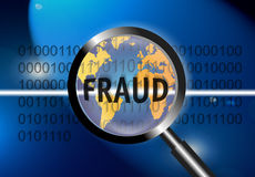 Security Concept Focus Fraud. An image for the concept of focus on world wide security and fraud. Image shows rows of digital stream letters and numbers under a Royalty Free Stock Image