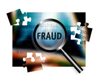 Security Concept Focus Fraud. An image for the concept of focus on security and fraud. Image shows rows of digital stream letters and numbers under a magnifying Royalty Free Stock Photo