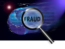 Security Concept Focus Fraud. An image for the concept of focus on security and fraud. Image shows rows of digital stream letters and numbers under a magnifying Royalty Free Stock Images