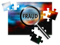 Security Concept Focus Fraud. An image for the concept of focus on security and fraud with a finger print, rows of digital stream letters and numbers under a Royalty Free Stock Photos