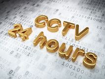 Security concept: Golden CCTV 24 hours on digital Royalty Free Stock Image