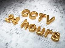 Security concept: Golden CCTV 24 hours on digital. Background, 3d render Royalty Free Stock Image