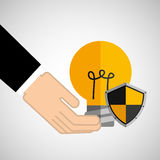 Security concept hand with bulb. Vector illustration eps 10 Stock Image