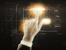 Security concept. Hand dialing password on abstract digital keyboard. Security concept Royalty Free Stock Photo