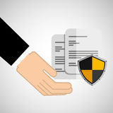 Security concept hand with document Stock Photos