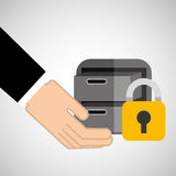 Security concept hand with files. Vector illustration eps 10 Royalty Free Stock Photography
