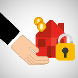 Security concept hand with house coins Stock Photo