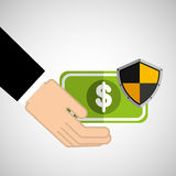 Security concept hand with money. Vector illustration eps 10 Stock Photo