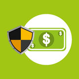Security concept hand with money. Vector illustration eps 10 Stock Images