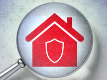 Security concept: Home with optical glass on. Security concept: magnifying optical glass with Home icon on digital background, 3d render Royalty Free Stock Images
