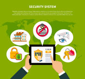 Security Concept Illustration. Security concept with financial and home security symbols flat vector illustration Stock Images