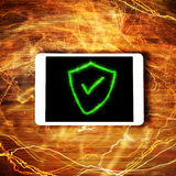 Security Concept. Information protection security concept in green Stock Photos