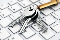 Security concept: keys on laptop keyboard. Creative abstract computer internet security and PC web communication safety business technology concept: macro view Royalty Free Stock Photo
