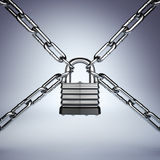 Security concept. Lock and chain. Under protection. Royalty Free Stock Photos