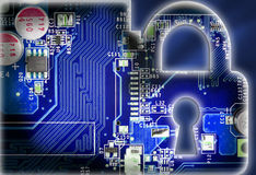 Security concept with lock in electronic circuit Stock Image