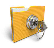 Security concept: locked folder. Security concept: yellow locked file folder isolated on white background Stock Photography