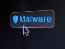 Security concept: Malware and Broken Shield on Stock Image