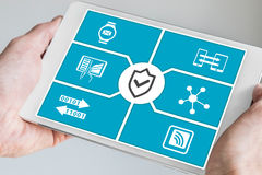 IT security concept for mobile devices. Hand holding tablet. As technology background royalty free stock images