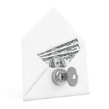 Security Concept. Money in Envelope with Key and Keylock. 3d Ren Stock Image