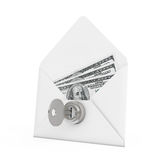 Security Concept. Money in Envelope with Key and Keylock. 3d Ren Royalty Free Stock Images