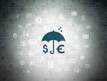 Security concept: Money And Umbrella on Digital Data Paper background. Security concept: Painted blue Money And Umbrella icon on Digital Data Paper background Royalty Free Stock Photos