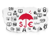 Security concept: Money And Umbrella on Torn Paper background Stock Photo