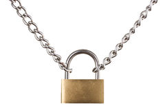 Security concept - padlock on chain isolated Stock Image