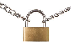 Security concept - padlock on chain isolated Royalty Free Stock Images