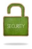 Security concept on padlock shape green blackboard Royalty Free Stock Image
