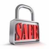 Security concept padlock with the word safe Stock Photo