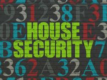 Security concept: House Security on wall background. Security concept: Painted green text House Security on Black Brick wall background with Hexadecimal Code Stock Photos
