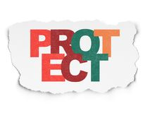 Security concept: Protect on Torn Paper background Stock Photography