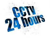 Security concept: CCTV 24 hours on Digital background. Security concept: Pixelated blue text CCTV 24 hours on Digital background Royalty Free Stock Image