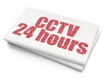 Security concept: CCTV 24 hours on Blank Newspaper background. Security concept: Pixelated red text CCTV 24 hours on Blank Newspaper background, 3D rendering Royalty Free Stock Image