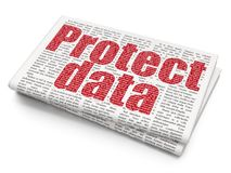 Security concept: Protect Data on Newspaper background Stock Photos