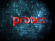 Security concept: protect on digital background. Security concept: pixelated words protect on digital background, 3d render Stock Image