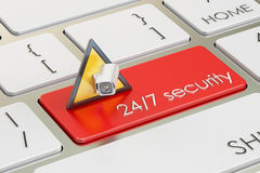 24/7 security concept on red keyboard button, 3D rendering Stock Image