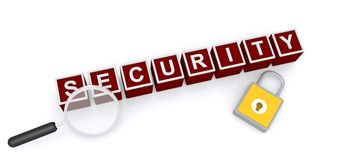 Security concept. Security in red toy blocks with padlock and magnifying glass Stock Photos
